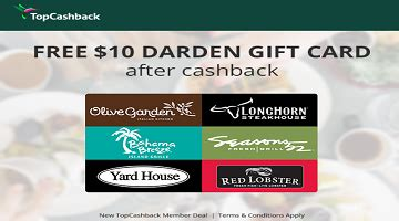 Olive Garden Gift Card Promo - new topcashback members get free 10 darden gift card