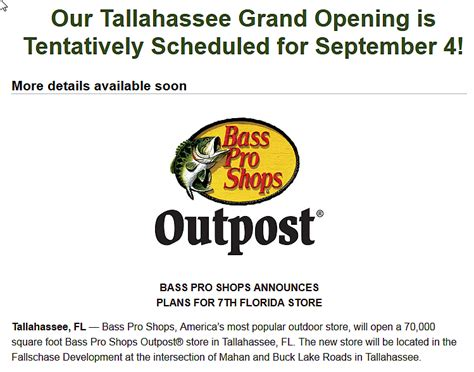 bass pro shop tallahassee boats bass pro shops opens in tallahassee on september 4 the