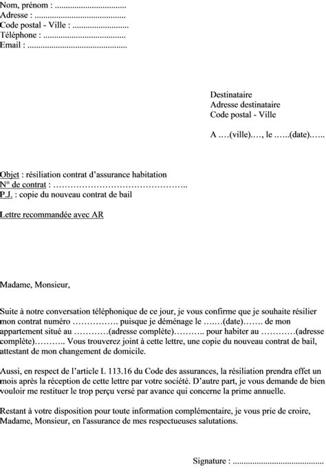 Modele Resiliation Contrat Assurance Habitation mod 232 le lettre r 233 siliation assurance habitation pour