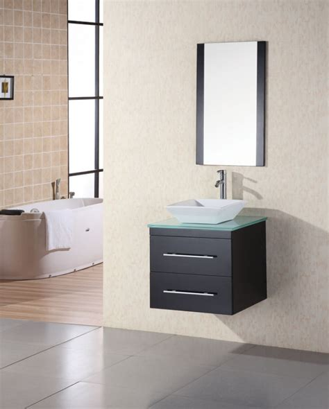 Bathroom Vanity Sinks Modern 24 Inch Modern Single Sink Bathroom Vanity With Tempered Glass Counter Top Uvde071cgtp24