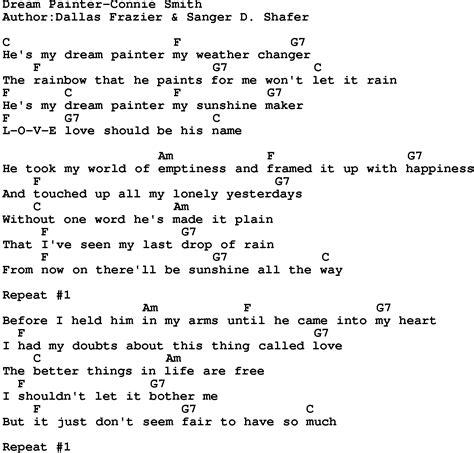 painter lyrics country painter connie smith lyrics and chords