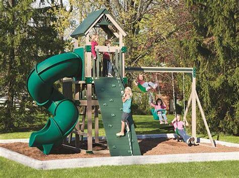 home built swing set vinyl wood swing sets fun kids outdoor entertainment