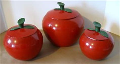 vintage kitchen canister set of four red apple canisters retro spun aluminum vintage 6 pc red apple canister set