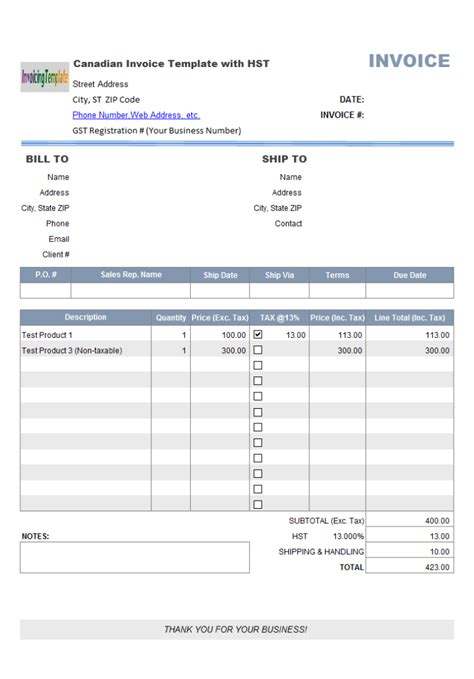 free download program canadian customs invoice template