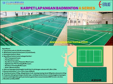 Karpet Lapangan Futsal Murah karpet lapangan bulutangkis a series distributor olahraga