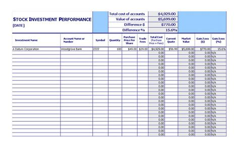 performance tracking excel template stock investment tracker stock investment performance