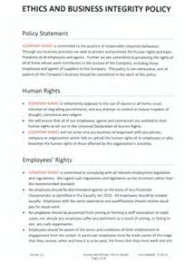 Conflict Of Interest Policy Template Uk by Ethics Policy Business Integrity Policy Template