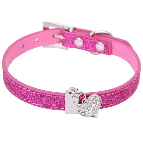 collars with bling glitter pu leather collar for puppy small with bling shaped