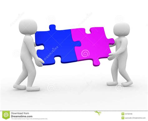 Two Person by Two Person Matching Puzzle Pieces Stock Illustration