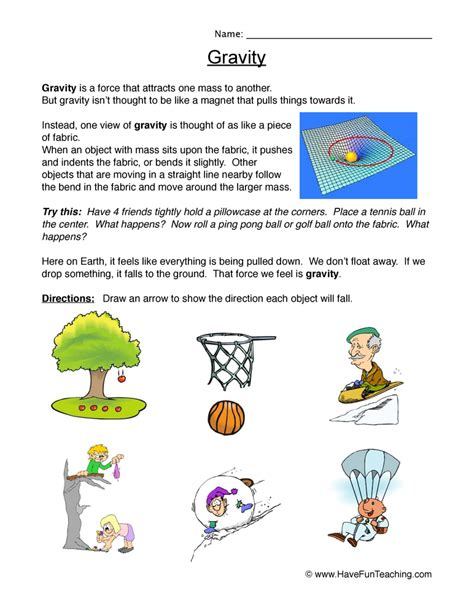 Gravity Worksheet by Gravity Worksheet Falling