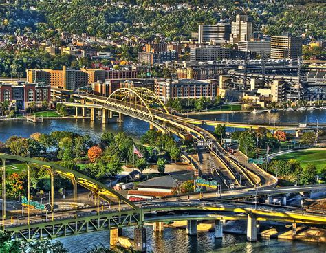 small american cities pittsburgh bridges we drove across the monongohala and