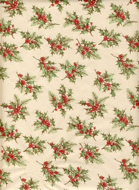 free printable vintage wrapping paper vintage holly pattern christmas wrap pinterest