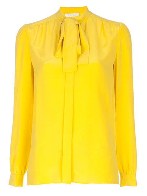 Yell O Blouse yellow blouse with bow blouse with