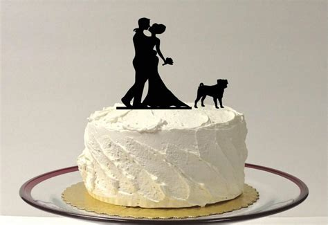 pug cake topper with pet wedding cake topper pug silhouette wedding cake topper groom