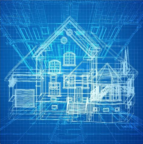 urban blueprint vector architectural background stock architectural background with a 3d building model vector