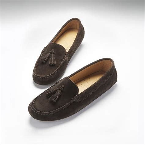 womens driving loafers s tasselled driving loafers brown suede hugs co