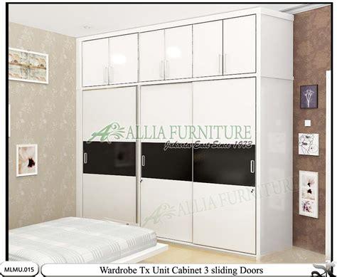 Lemari Pakaian Sliding Door 4 Pintu Hpl Coklat Kayustrip Crm Ls432 2ct lemari minimalis sliding cabinet unit tx allia furniture