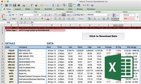 How To Import Share Price Data Into Excel Market Index Finance Template