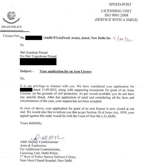 Appeal Letter For Gun Permit Delhi Arms License Rejected Indians For Guns