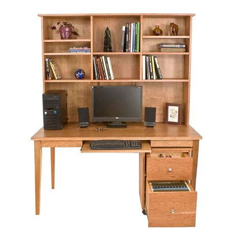solid wood computer desk with hutch wooden writing desk bookcase in natural solid cherry