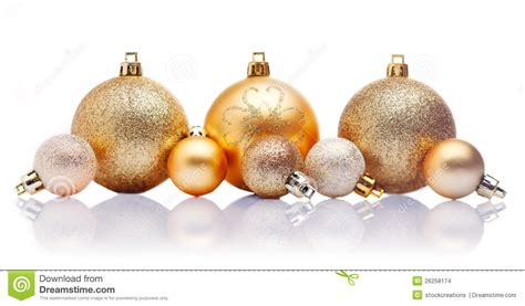 gold christmas baubles stock images image 26258174