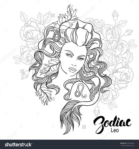 printable zodiac coloring pages zodiac leo girl coloring page shutterstock 325965020