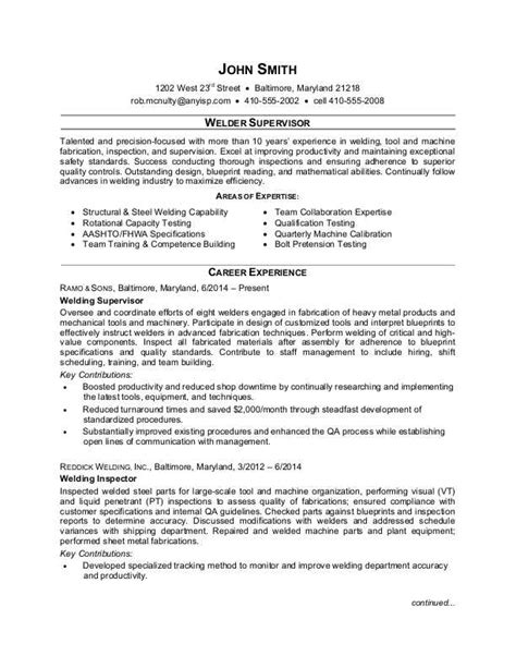 Resume Templates For Supervisor Position by Welder Supervisor Resume Sle