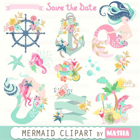 mermaid clipart summer clipart quot mermaid clipart quot with mermaids navy