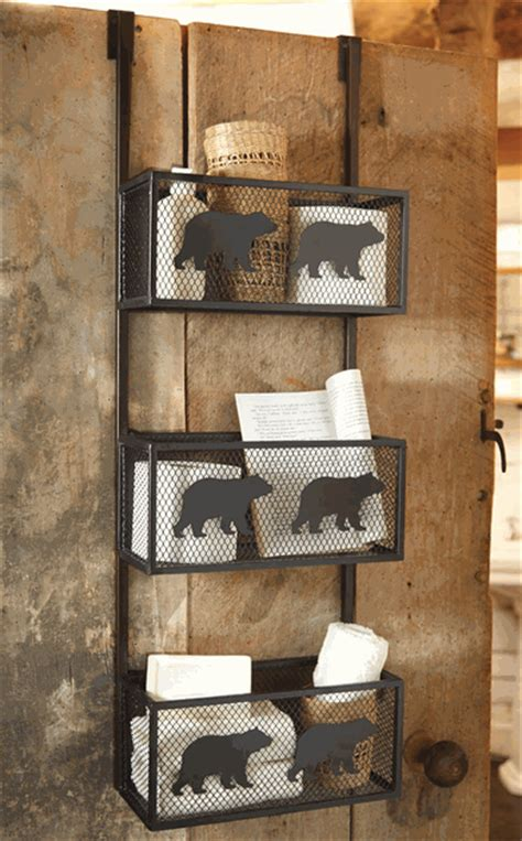 forest bathroom decor bear bathroom door shelf