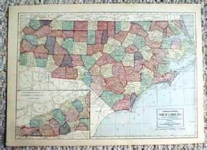 map  north south carolina paper  ephemera