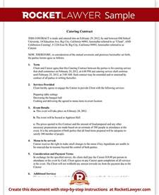 Catering Contract Templates by Catering Contract Catering Contract Template With Sle