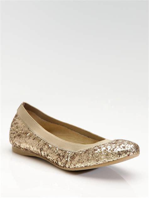 Flat Shoes Gliter Rf01 1 lyst stuart weitzman lastikon glitter ballet flats in metallic