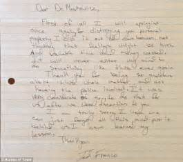 Apology Letter Vandalism Franco S Apology Letter Revealed After Then 14 Year Egged S House