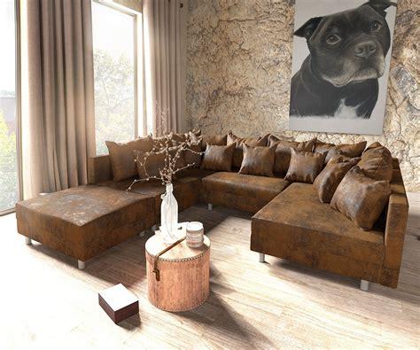 rustikale couchgarnituren clovis braun antik optik mit hocker wohnlandschaft