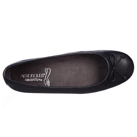black flats comfortable aerosoles teashop comfort ballet flats in black lyst