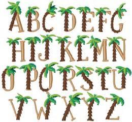 Palm tree alphabet palm tree font embroidery font