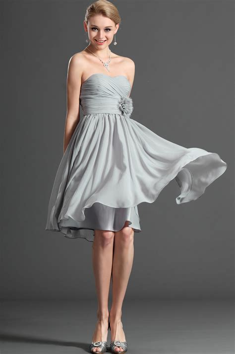 silver strapless cocktail dress pictures