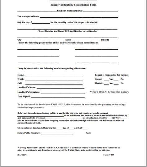 tenant information form official tenant verification form template word document