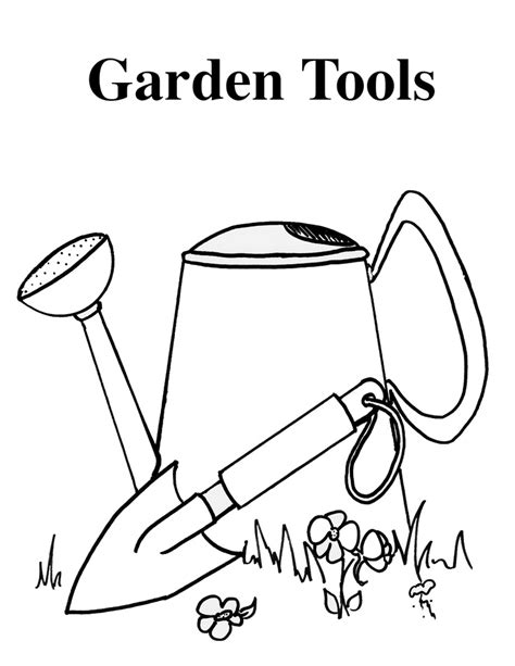 Coloring Pages Of Garden Tools | garden tools copy jpg 1700 215 2200 vegetable garden baby