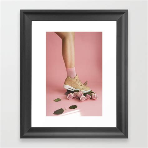 soilandsole sneaker and roses framed print by nessanoir society6