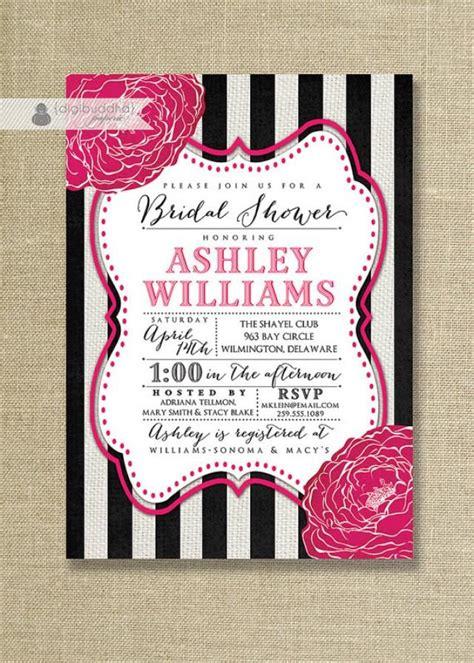 bridal shower invitations same day shipping fuchsia black white bridal shower invitation striped