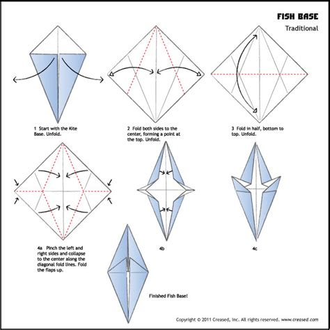 Origami Basic Folds - origami fish base