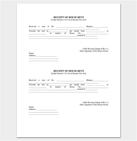 fillable rent receipt template rent receipt template 9 forms for word doc pdf format