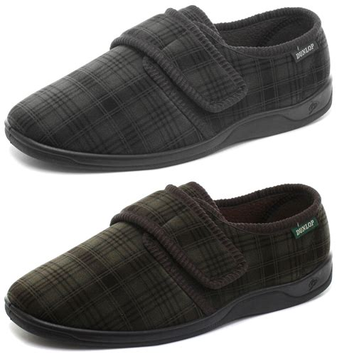 velcro slippers for new dunlop check velcro cushioned mens slippers all