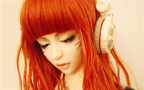 Orange Girlset wallpaperr top 3d with headphone wallpaper