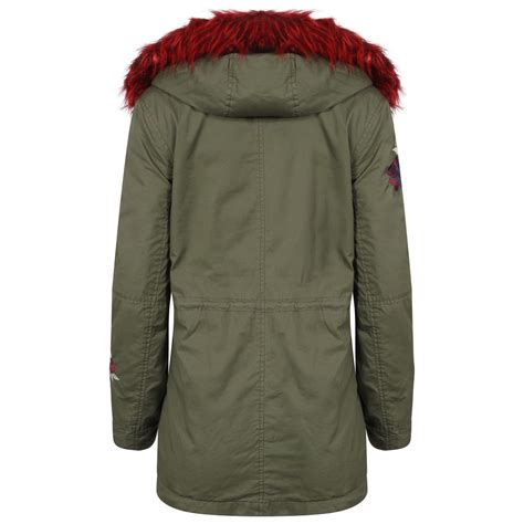 Hooded Embroidery Jacket womens jacket zipped embroidery hooded faux parka fur
