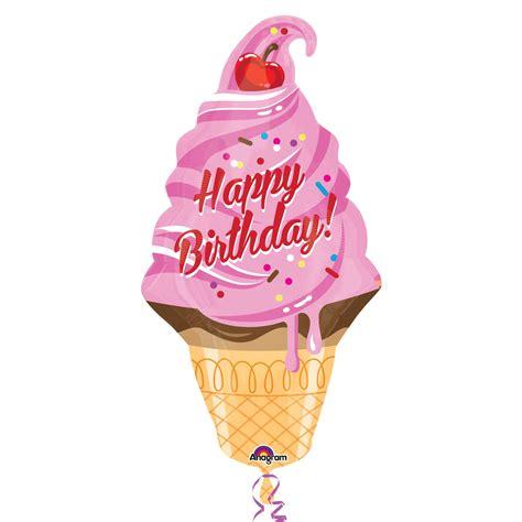 Ice cream cone happy birthday supershape foil balloons p30 5 pc amscan international