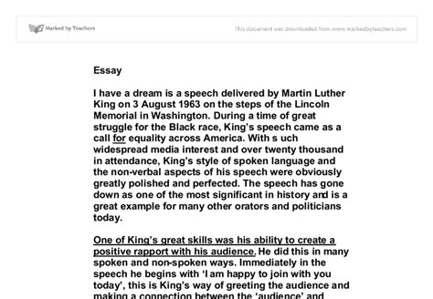 Martin Luther King Jr Speech Essay by I A Speech Essay