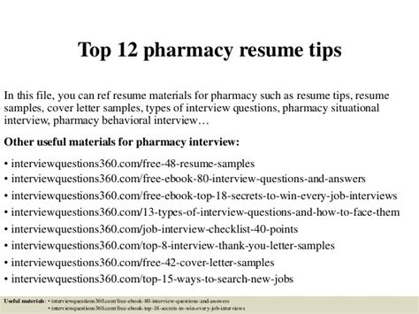 Resume Tips Promotions by Top 12 Pharmacy Resume Tips