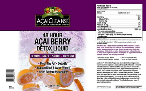 Acai Cleanse Detox Liquid by Windmill Vitamins Garden Greens Acaicleanse Acai Berry